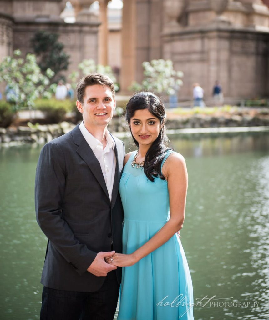 San Francisco Engagement Portrait of Pooja and Grant at the Palace of Fine Arts, San Francisco