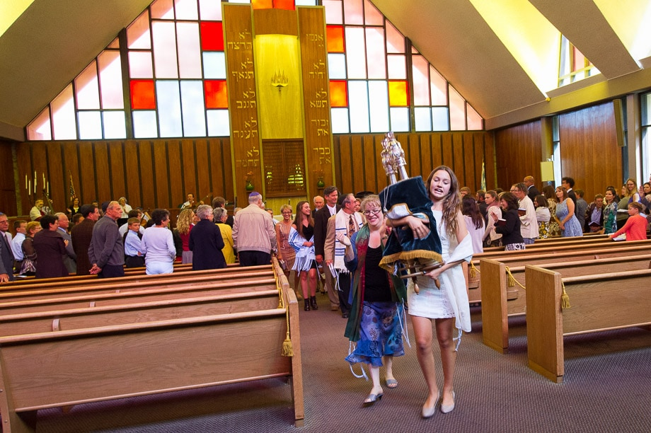 Zoe carries the torah during the processional during her Bat Mitzvah service followed | Rabbi Katie Mizrahi - Temple Ohr Shalom