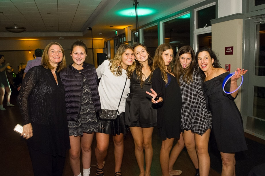 Zoe Waxman Crew, Bela Crews, Norma Jo Waxman and friends pose for a group photo during Zoe's Bat Mitzvah Celebration at the Lake Merced Boathouse