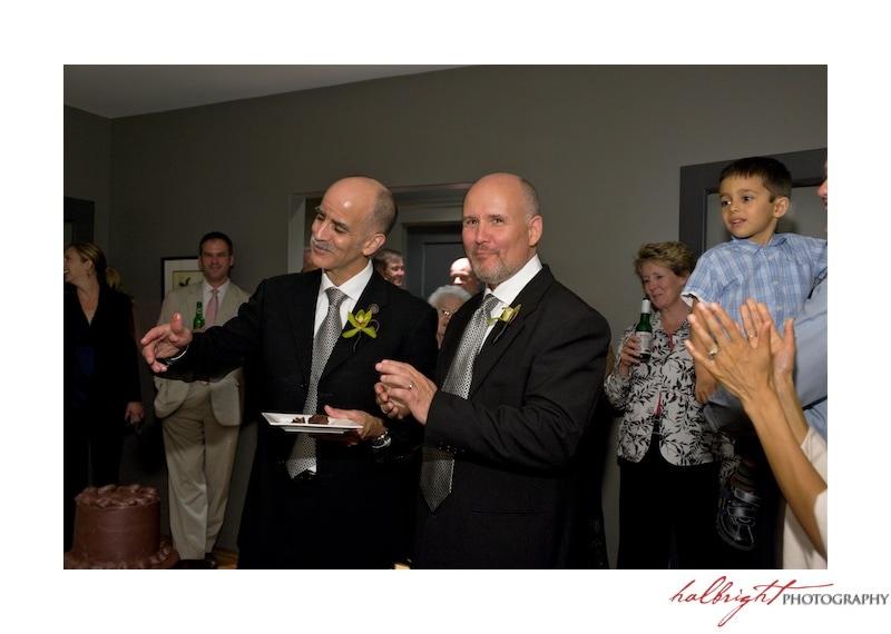 Grooms greet their wedding guests | San Francisco - LGBT Wedding
