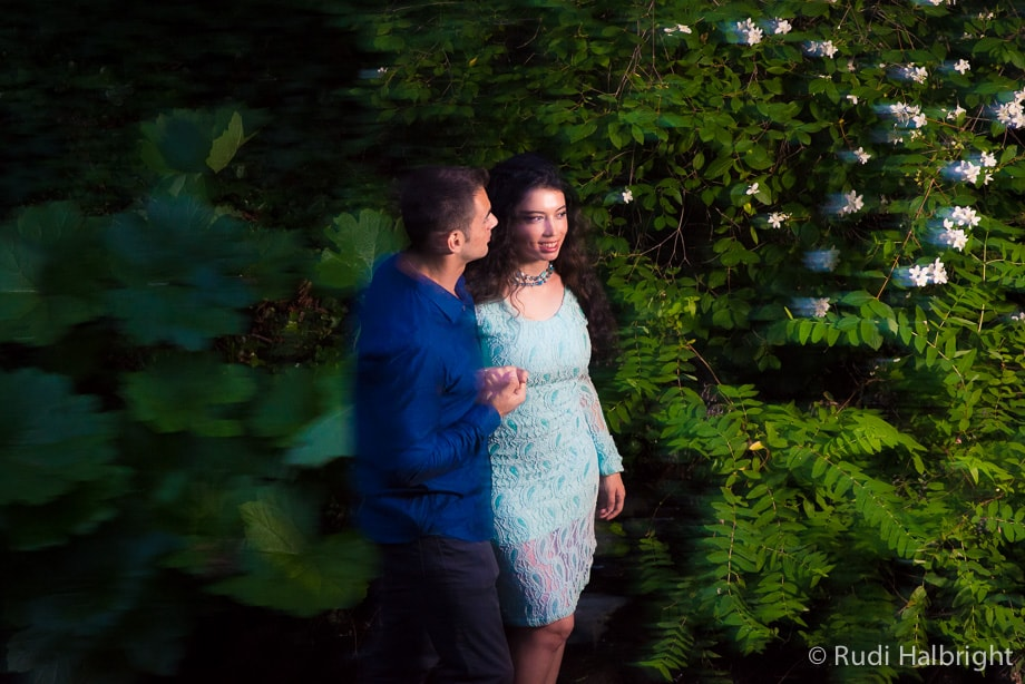 Couple photographed in the woods during their Engagement Session on the UC Berkeley Campus California