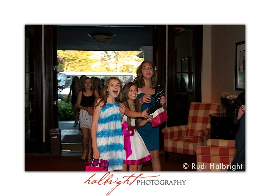 Bat Mitzvah and friends arrive on a bus - Bat Mitzvah party - Lake Merced Golf Club - Daly City