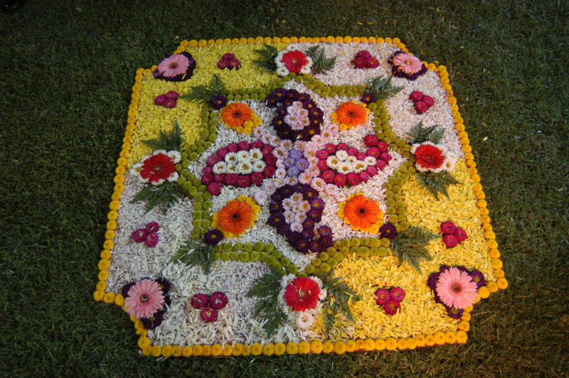Indian Wedding Flowers arranged as a rug