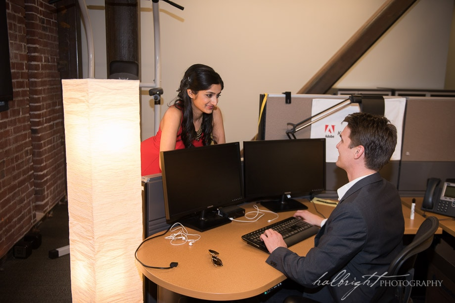 Couple Recreates Flirting in the Office where they met during engagement portrait | Adobe San Francisco - Engagement Photographer