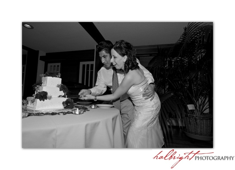 The bride and groom cut the cake together