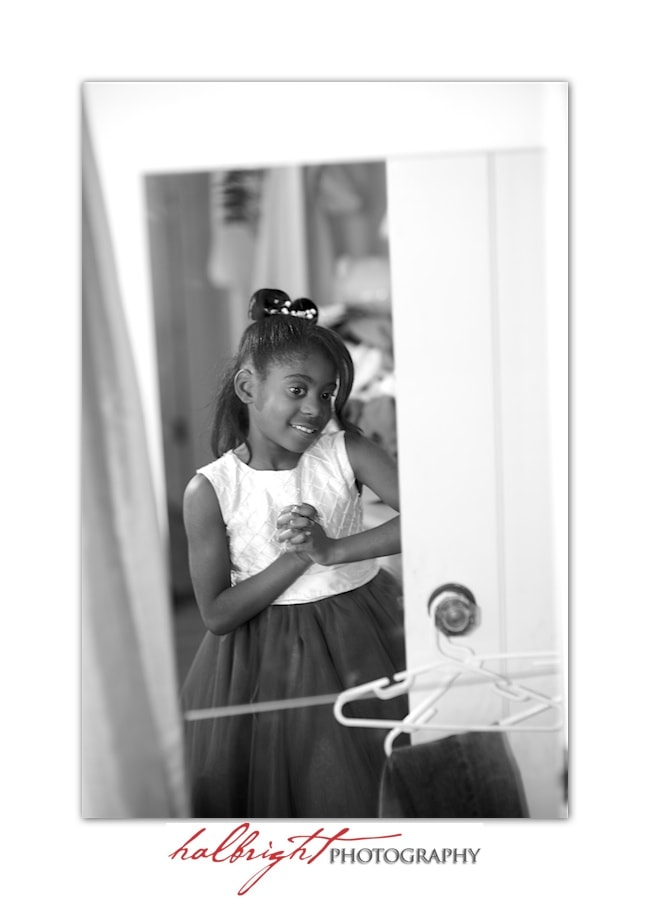 Flower Girl getting ready in mirror | Wedding - Getting Ready in Hotel Room - Oakland Wedding