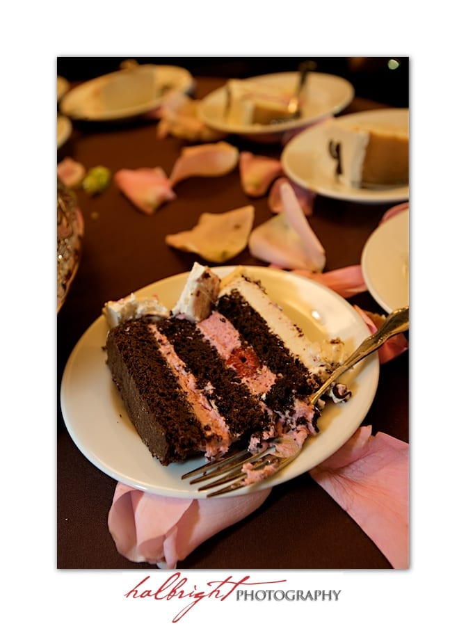 Chocolate Wedding Cake Slice - Oakland Wedding - Joaquin Miller Park and Community Center - LGBT Wedding