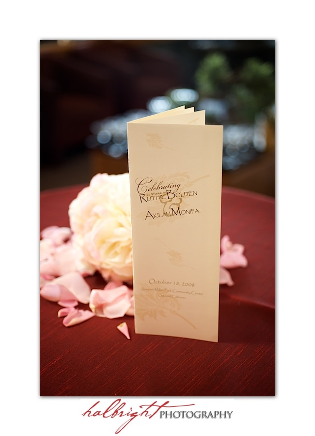 Table decoration - Wedding Program - Joaquin Miller Park and Community Center - Oakland Wedding