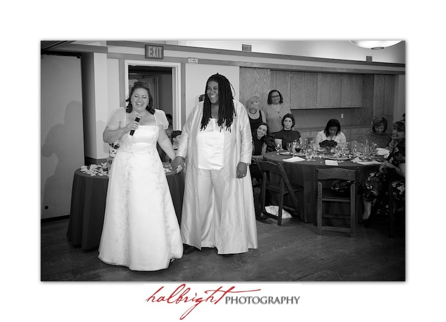 Two brides speaking to their guests at their wedding reception | LGBT - Oakland Wedding - Joaquin Miller Park and Community Center