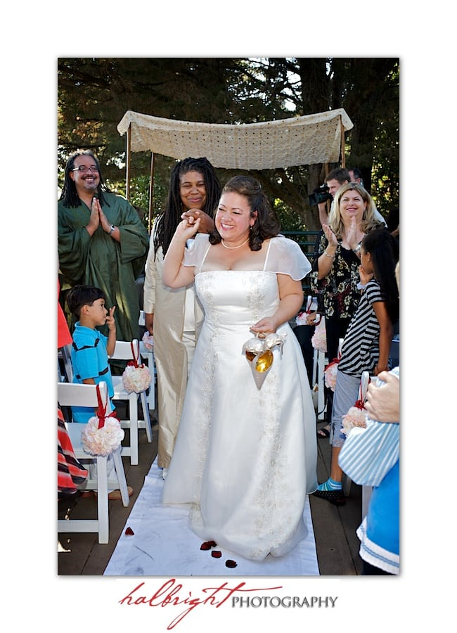 Brides walking down the aisle - LGBT Wedding - Joaquin Miller Park and Community Center - Oakland Wedding