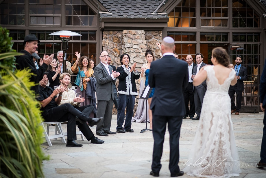 family and friends greet the bride and groom | brazilian room wedding