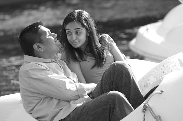 Engagement Portrait of Indian Couple in a paddle boat