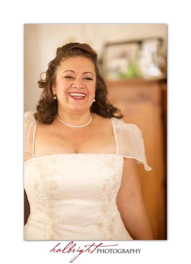 Bride in her wedding dress - getting ready - hotel room - Oakland wedding