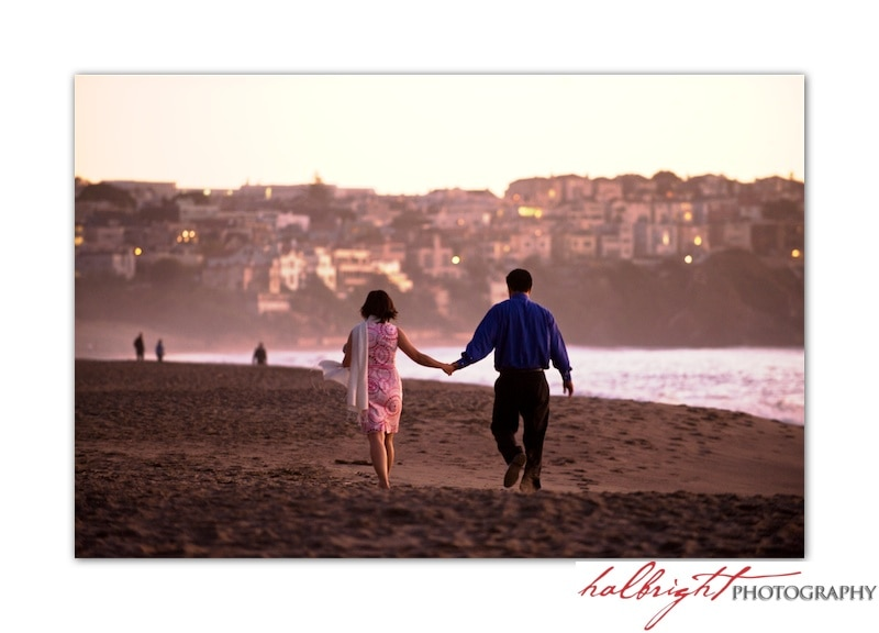 Nhi and Gordon - Baker Beach at Sunset - Engagement Portrait - Walking on the beach
