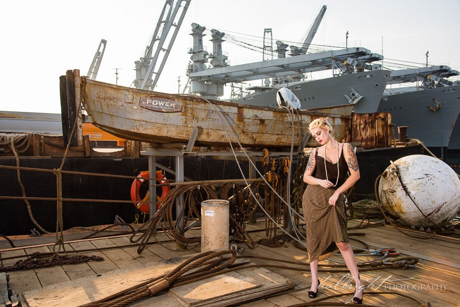 Betty is modeling some vintage clothing on the docks near the U.S.S. Hornet in Alameda, CA