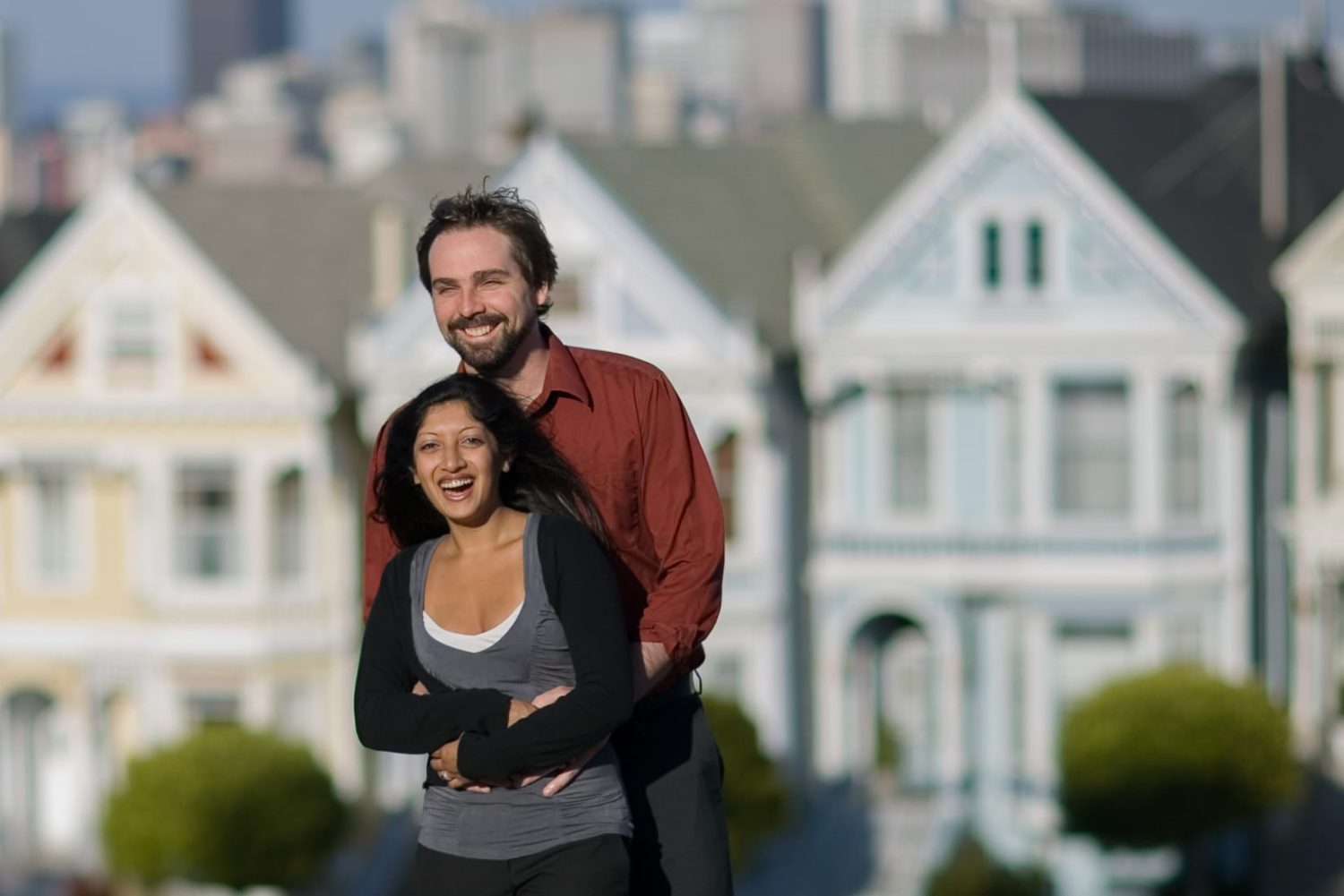 San Francisco Engagement Portrait in front of the