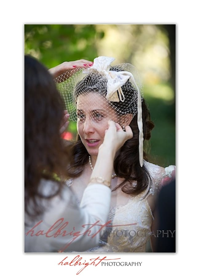 Bride having her veil adjusted - mills college wedding - oakland wedding - wedding photographer