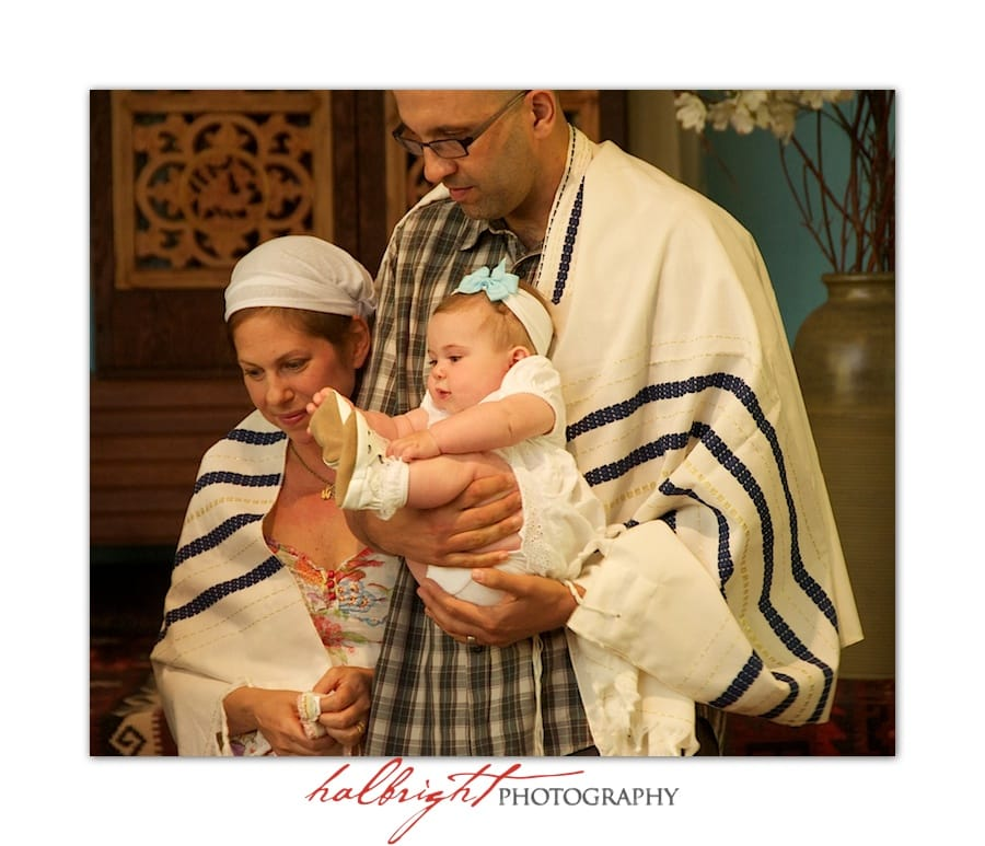 Baby is blessed in her naming ceremony at Chochmat Halev