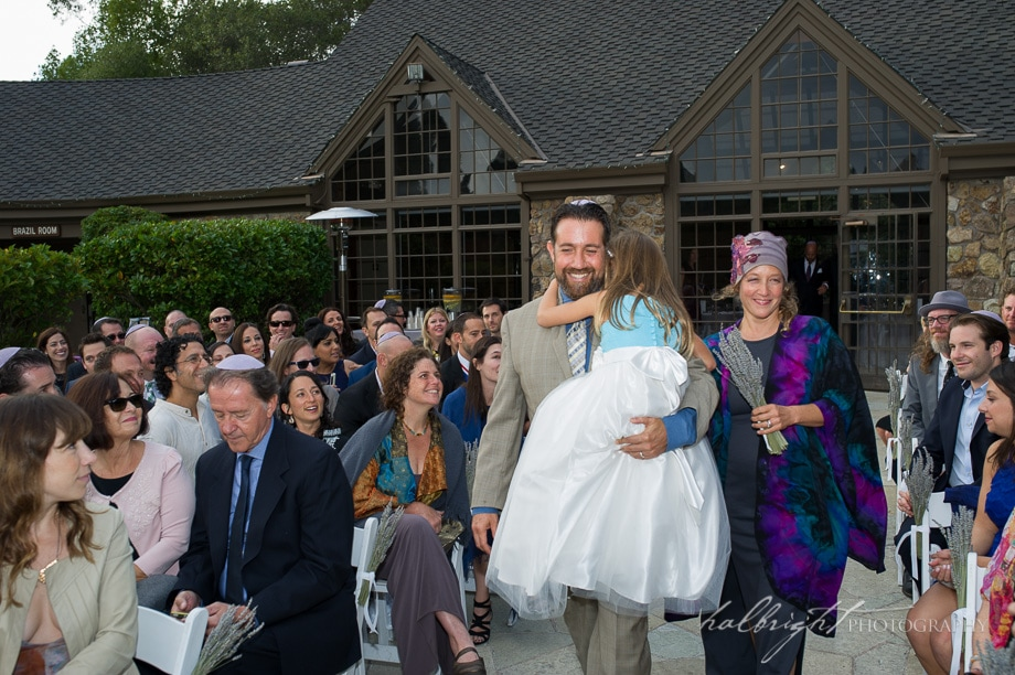 Jay carries his daughter Sophie down the aisle at his brother in law's wedding | Brazil Room - Tilden Park - Berkeley