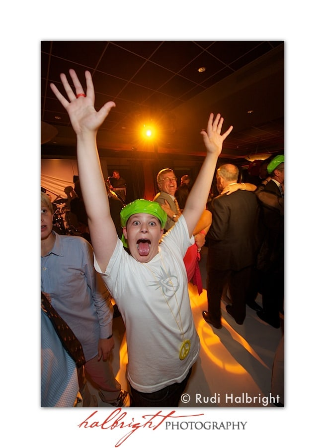 Boy raises his hands up high while on dance floor at Lake Merced Golf Club Bat Mitzvah Party
