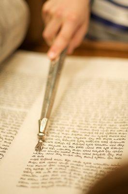 Pointing at the Bar Mitzvah's Torah Portion - Temple Emanu-El San Francisco Bar Mitzvah - B'nai Mitzvah Photography