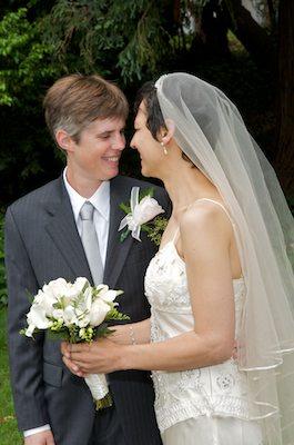Portrait of Brides with Bouquet - Berkeley Faculty Club Wedding - UC Berkeley Wedding