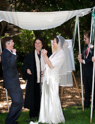 Brides under chuppah - LGBT Wedding - UC Berkeley Faculty Club - Berkeley Campus