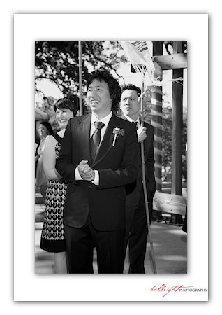 The Groom awaits his bride under the chuppah - camp arroyo wedding