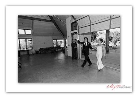 Bride and Groom Arrive at Reception - Camp Arroyo Wedding