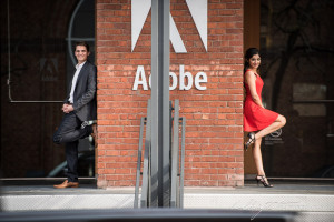 San Francisco Engagement Portrait of the happy couple in front of the Adobe office before it was retouched by Halbright Photography